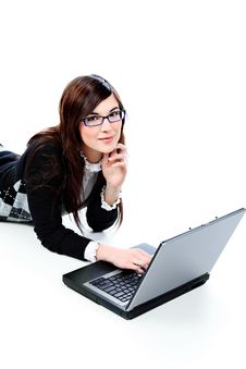 Free Girl With Laptop Stock Images - 14631074