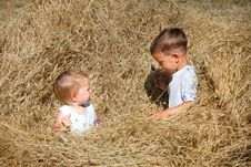 Free Two Kids In Hay Royalty Free Stock Image - 14631446