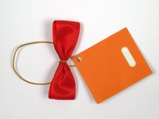 Free Red Bow With Label. Stock Photos - 14631473