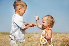 Free Two Kids On Rural Background Royalty Free Stock Photo - 14631485