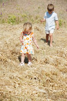 Free Kids Walking On Rural Background Stock Photography - 14631532