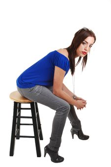 Free Young Girl Sitting On Bar Chair. Royalty Free Stock Photos - 14631768