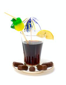 Free Glass With Drink And Chocolate Candy Royalty Free Stock Photography - 14633057