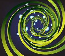 Background With Green Spiral And Drops Of Water In Stock Images