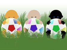 Free Multiracial Babies With Footballs Stock Photos - 14634063