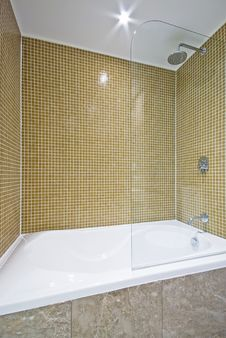 Detail Of A Modern Bath With Mosaic Walls Stock Images