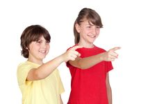Free Adorable Preteen Girl And Little Boy Finger Pointi Royalty Free Stock Images - 14634099