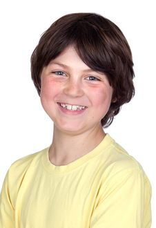 Funny Portrait Of Freckled Boy Stock Images