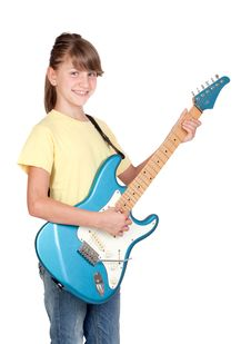 Free Adorable Girl Whit Electric Guitar Stock Image - 14634721