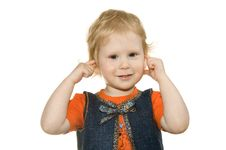 Girl Has Closed Ears Royalty Free Stock Photo