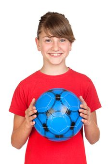Free Smiling Girl With Blue Ball Royalty Free Stock Photography - 14634827
