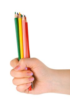 Hand With Multicolored Pencils Stock Photos