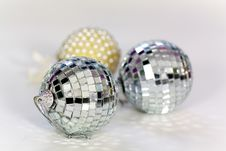 Three Silver White Christmas Ornaments Royalty Free Stock Image