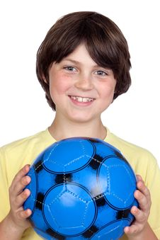 Free Adorable Child With A Blue Soccer Ball Stock Image - 14635131