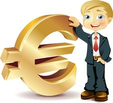 Free Businessman With A Euro Symbol Royalty Free Stock Image - 14635336