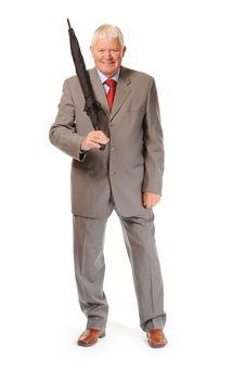 Successful Mature Businessman With Umbrella Stock Images