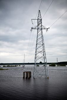 Flooded Power Lines Royalty Free Stock Photos