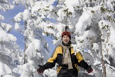Free Young Man On A Background Snow-bound Fir-trees Stock Image - 14637301