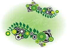 Green Circle And Flowers Decoration Royalty Free Stock Image