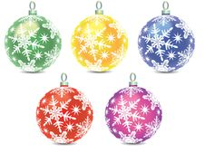 Set Of Christmas Balls Decorations Stock Photos