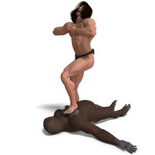 Free Apeman Defeated The Gorilla. 3D Rendering With Royalty Free Stock Photography - 14638947