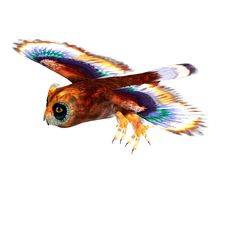 Free Fantasy Owl With Rainbow Colors. 3D Rendering Royalty Free Stock Photos - 14638998