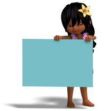 Free Very Cute Hawaiin Cartoon Girl Invites You. 3D Royalty Free Stock Images - 14639029