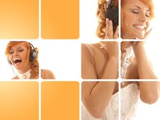 A Set Of Music Images With A Young Woman Stock Images