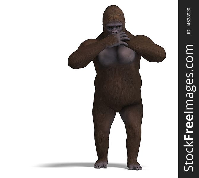 Gorilla saying nothing, not speaking. 3D