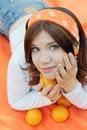 Free Girl With Oranges Stock Photo - 14644880