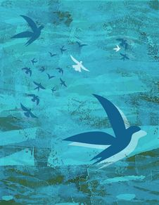 Free Birds On Blue Background - Ocean & Sky Stock Photo - 14640570