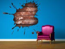 Free Purple Chair In Blue Minimalist Interior Royalty Free Stock Photos - 14641838