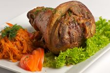 Free Roasted Pork Shank With Vegetables And Salad Royalty Free Stock Photos - 14643298