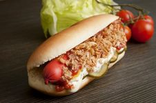 Hot Dog Prepared With Danish Ingredients Royalty Free Stock Photography