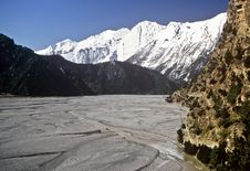 Dry Riverbed, Nepal Royalty Free Stock Photography