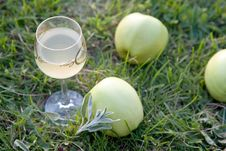 Free Wine With Green Apples Royalty Free Stock Photography - 14645147