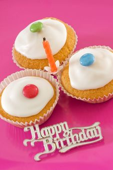 Free Three Birthday Iced Buns Royalty Free Stock Photo - 14645465