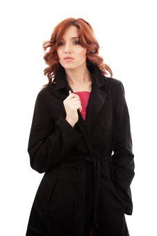 Free Woman In Black Raincoat Stock Photo - 14645880