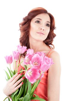 Free Young Woman With Flowers Royalty Free Stock Photography - 14645887