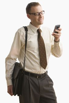 Free Businessman Texting On Cell Phone - Isolated Royalty Free Stock Photo - 14645915