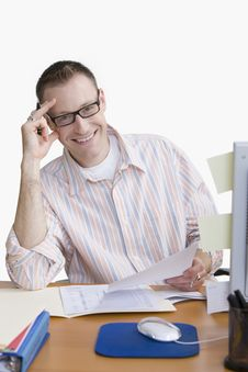 Free Man Working From Home - Isolated Royalty Free Stock Image - 14646256