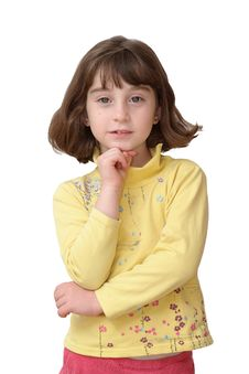 Free Thoughtful Cute Little Girl Rests Her Head On Her Stock Photo - 14646360