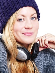 Free Teenager With Headphones Listening Music Royalty Free Stock Image - 14646446