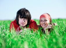 Free Boy With Girl On Grass Royalty Free Stock Photo - 14646525