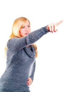 Free Woman Pointing By Finger Over White Royalty Free Stock Photo - 14646675