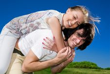 Boy With Smile And Long-haired Girl Stock Images