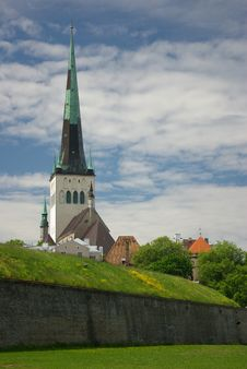 Oleviste Church Tower And Tallinn Old Town Stock Image