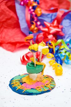 Child S Self-made Toy Birthday Cake Stock Images