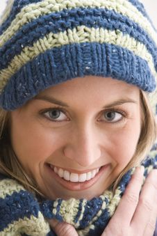Free Attractive Young Woman In A Knit Cap Royalty Free Stock Image - 14648136