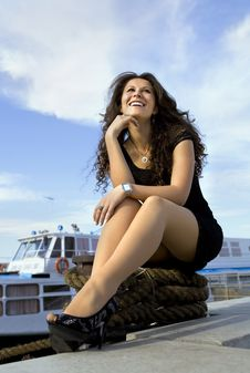 Happy Girl On Landing Stage Royalty Free Stock Photo